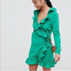 ASOS NWOT Green Wrap Dress